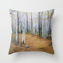 Autumn Hiking in New Hampshire - Oil Throw Pillow