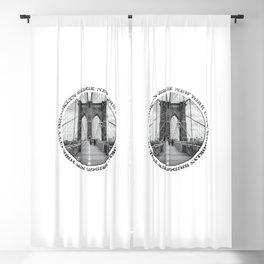 Brooklyn Bridge New York City (black & white with text) Blackout Curtain