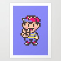 earthbound Art Prints featuring Ness (Peace) - Earthbound / Mother 2 by Studio Momo╰༼ ಠ益ಠ ༽