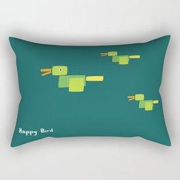 Happy Bird-Green Rectangular Pillow