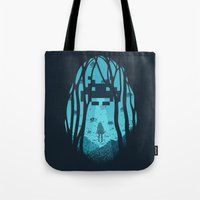 8 bit Tote Bags featuring 8 Bit Invasion by filiskun