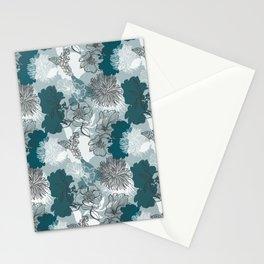 Blue Magnolia Pattern Stationery Cards
