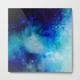 Blue Watercolor Space Pattern Metal Print