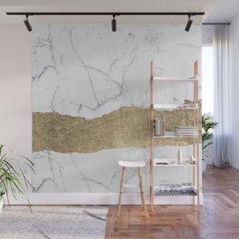 Elegant faux gold foil gray white modern marble Wall Mural