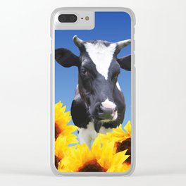 Cow black and white with sunflowers Clear iPhone Case