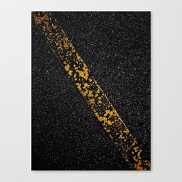 Old Yellow painted line on asphalt road Canvas Print