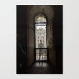 the girl and the cathedral santa maria asunta pisa italy 2 Canvas Print