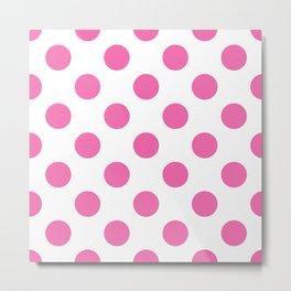 Geometric Candy Dot Circles - Strawberry Pink on White Metal Print