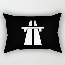 Freeway, Motorway, Autobahn - White on Black Rectangular Pillow