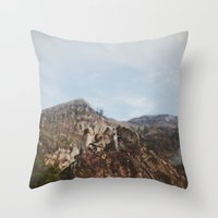 monkey island Throw Pillows featuring Monkey Mamas - Bali by Savannah Daras