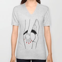 Beach fashion, minimalistic illustration. Cute female torso in panties, hand with red manicure. Unisex V-Neck