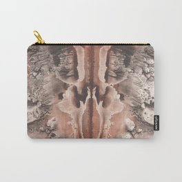 brown Rorschach test, watercolor, monotype, abstract symmetric painting Carry-All Pouch