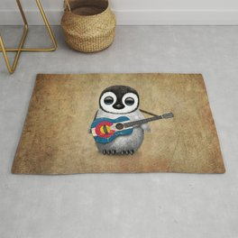 Baby Penguin Playing Colorado Flag Guitar Rug