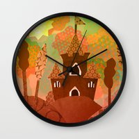 castle in the sky Wall Clocks featuring Castle by Ingrid Castile