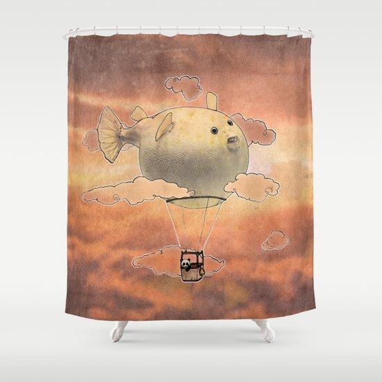 Panda fliying in a Blow fish 2 Shower Curtain
