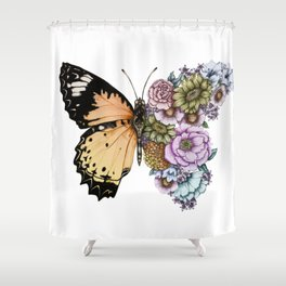 Butterfly in Bloom II Shower Curtain