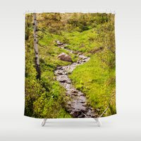 river Shower Curtains featuring River by Julie Luke