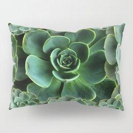 CHINESE  RED ART JADE GREEN SUCCULENTS Pillow Sham