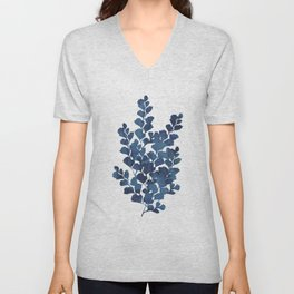 Blue watercolor maidenhair fern Unisex V-Neck