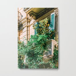 Barcelona City Print, Green Lush Vegetation Balcony, Vintage Facade Building Architecture, Overgrown Green Vegetation, City Of Barcelona, Spain Metal Print
