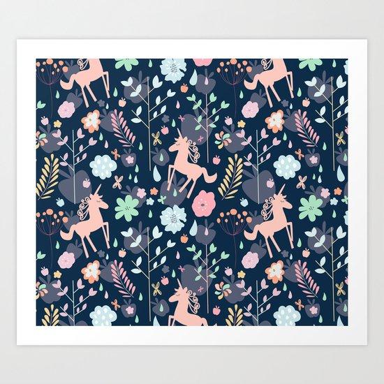 Unicorns in Hesperides Art Print