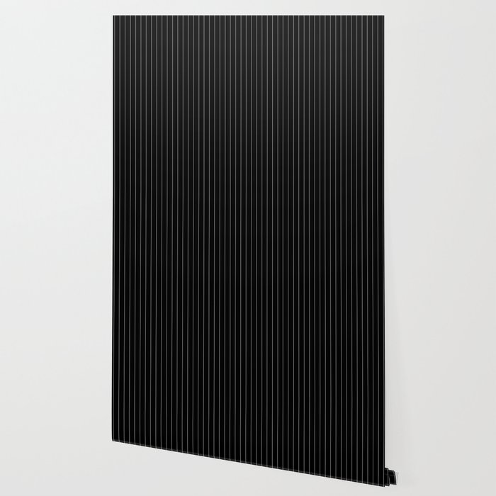 Black White Pinstripes Minimalist Wallpaper