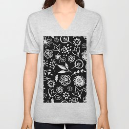 flowers leaves abstract doodle hand drawn lines scandinavian style white black fashion print, trend Unisex V-Neck
