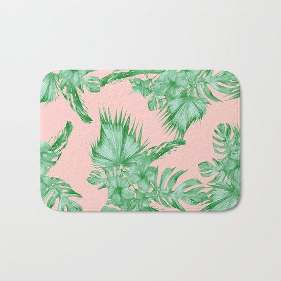 Dreaming of Hawaii Coral Pink + Green Bath Mat