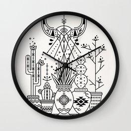 Santa Fe Garden – Black Ink Wall Clock