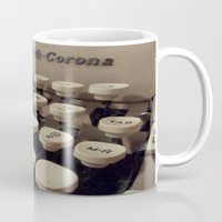 writer Mugs featuring Type Writer by Chelsea Gibson