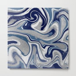 Abstract Liquid Art -Blue with Silver Details Metal Print