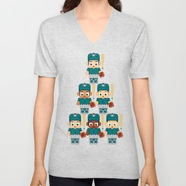 Baseball Teal and Grey - Super cute sports stars Unisex V-Neck