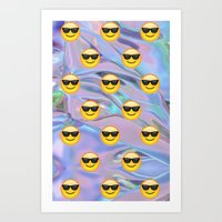 holographic Art Prints featuring Sunglasses Emoji Holographic by Andy Paik