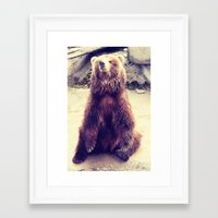 teddy bear Framed Art Prints featuring Teddy? by Gato Gris Games