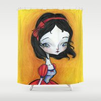 snow white Shower Curtains featuring Snow White by solocosmo