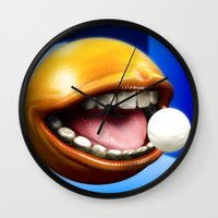 pacman Wall Clocks featuring PacMan by Joshua A. Biron
