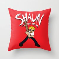 shaun of the dead Throw Pillows featuring Shaun vs. the Dead by HuckBlade