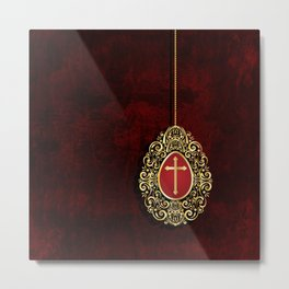 Exquisite gold cross and egg on dark textured background Metal Print
