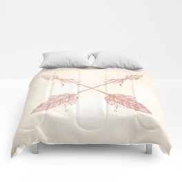 Tribal Arrows Rose Gold on Paper Comforters