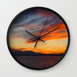 marvelous sunset over the sea Wall Clock