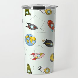 Rockets and planets space print Travel Mug