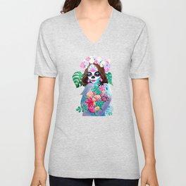 Sugar Skull Girl with Flowers - La Catrina Unisex V-Neck
