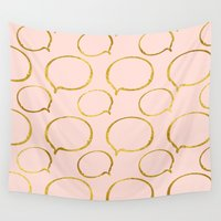 gold foil Wall Tapestries featuring Pink Gold Foil 01 by Aloke Design