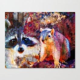 Squirrel And Raccoon Wildlife Art, Modern Nature Art Canvas Print