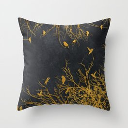 gold and black floral #goldblack #floral Throw Pillow