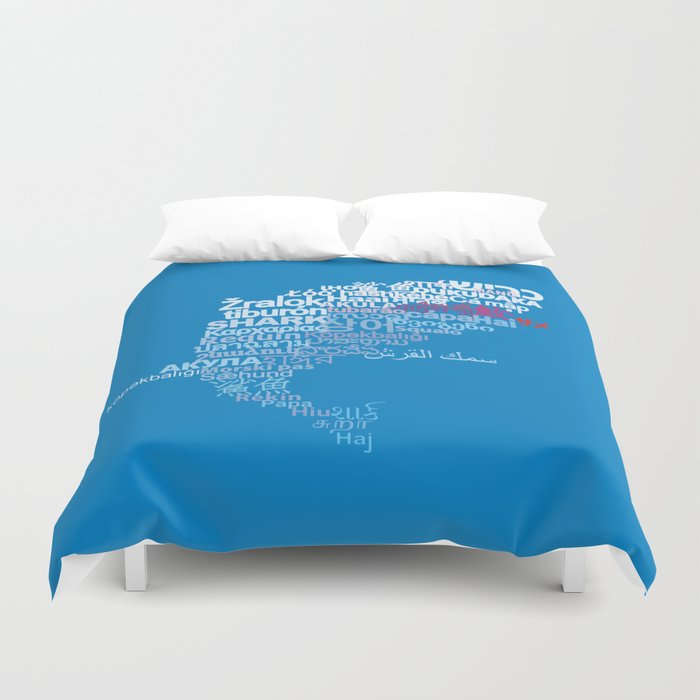 Shark in Different Languages Duvet Cover