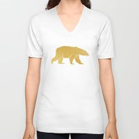 gold foil V-neck T-shirts featuring Gold Foil Polar Bear by Mod Pop Deco
