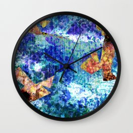Abstract Structure, Blue, Gold, Pink, Peach, Teal  Wall Clock