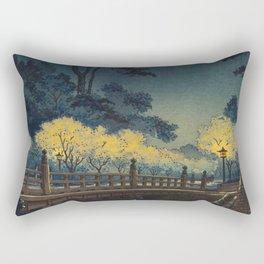 Tsuchiya Koitsu Benkei Bridge Vintage Japanese Woodblock Print Rectangular Pillow