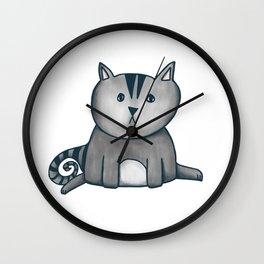 Contemplative Cat in graphite Wall Clock